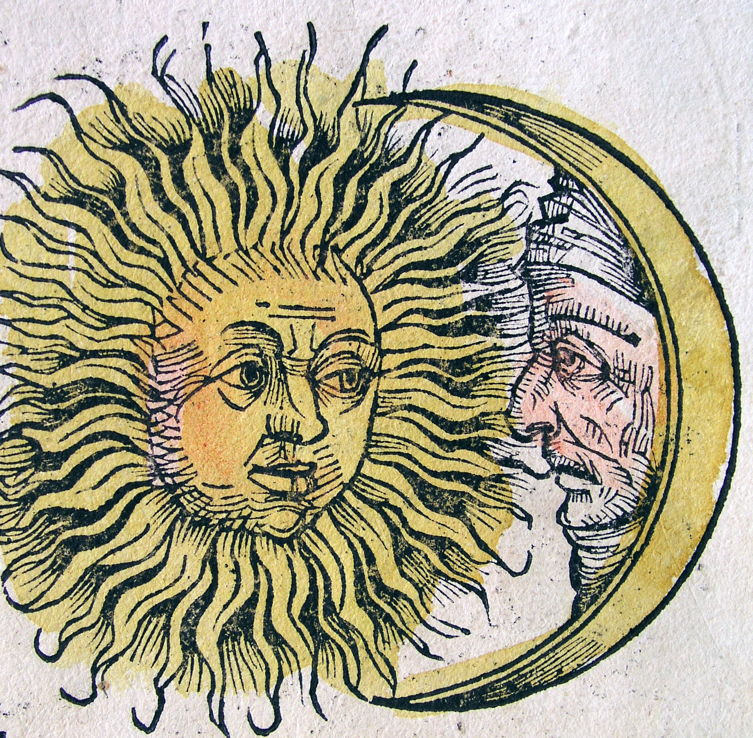old world artistic rendering of the sun and moon