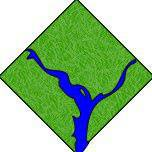 stylized green dc diamond with the two rivers intersecting in blue